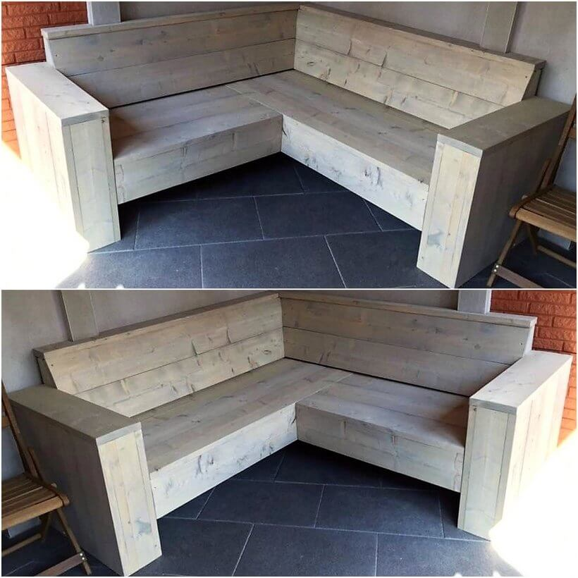 wood pallet corner sofa