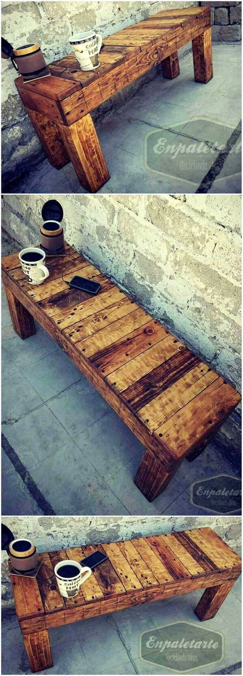 wood pallet rustic bench