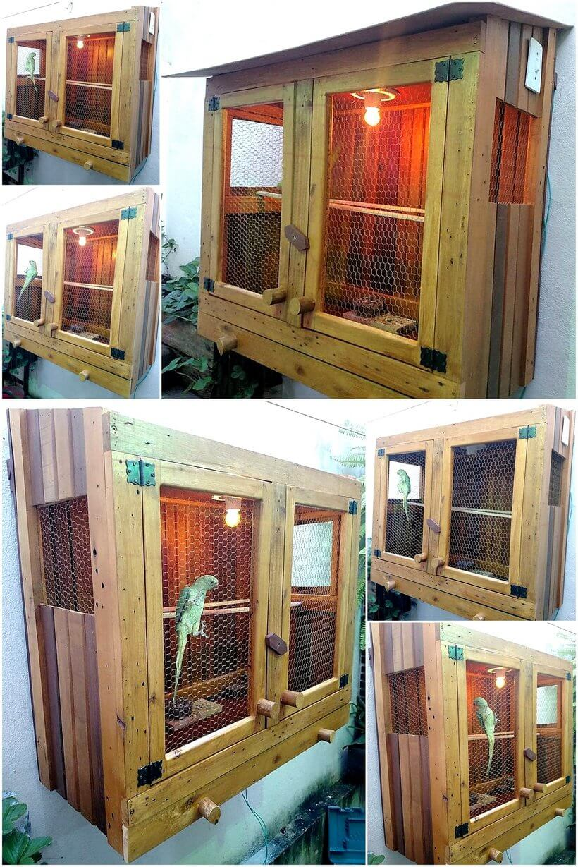 wood pallets birds cage