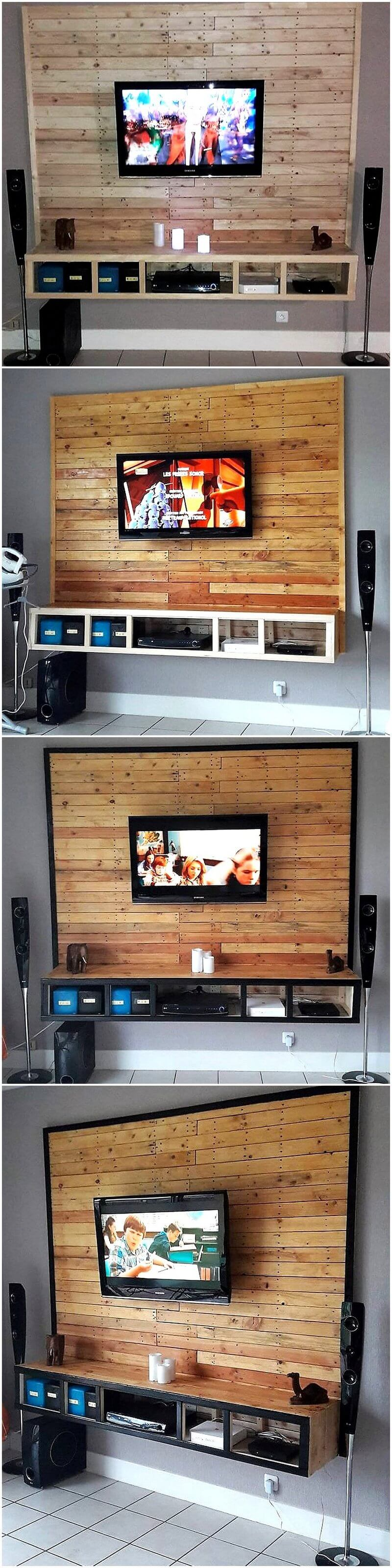 wooden pallet wall media console